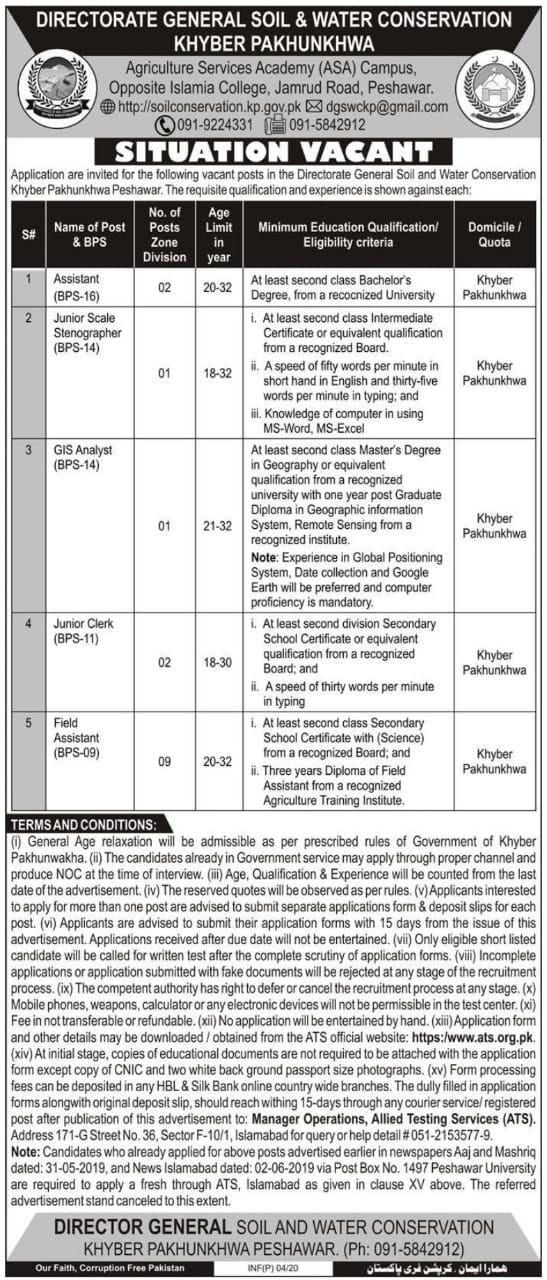 Directorate General Soil Water Conservation KPK Jobs ATS Result