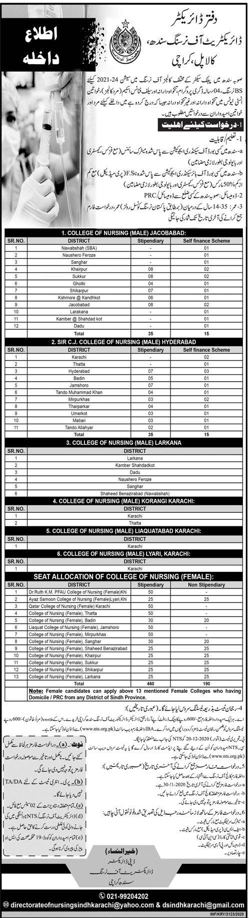 Directorate of Nursing Sindh Karachi BS Nursing Program NTS Roll No Slip