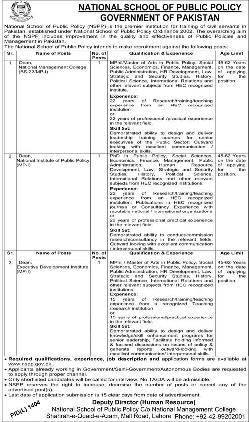 National School of Public Policy NSPP Jobs