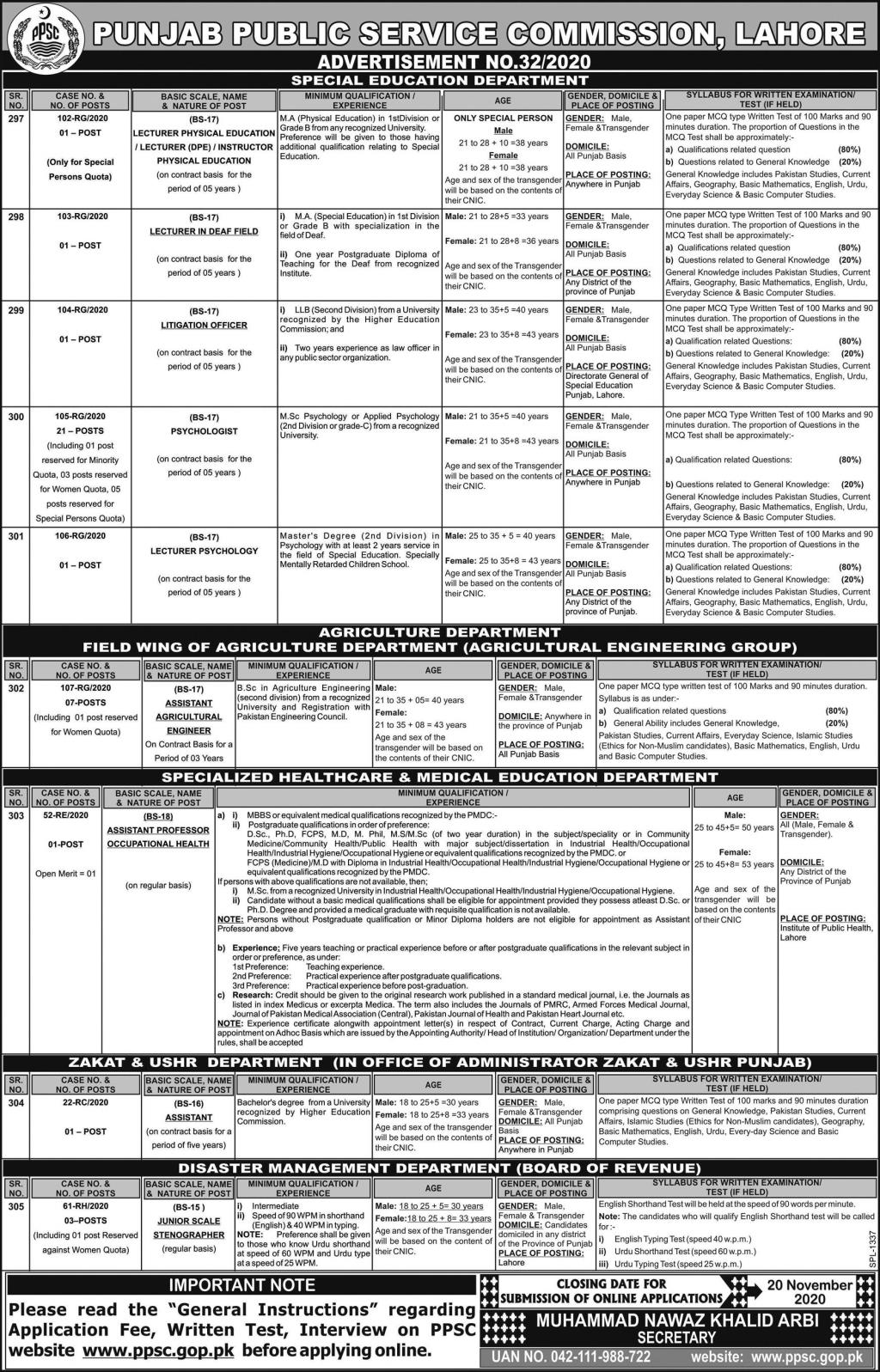 PPSC PSYCHOLOGIST Special Education Department Jobs Roll No Slip