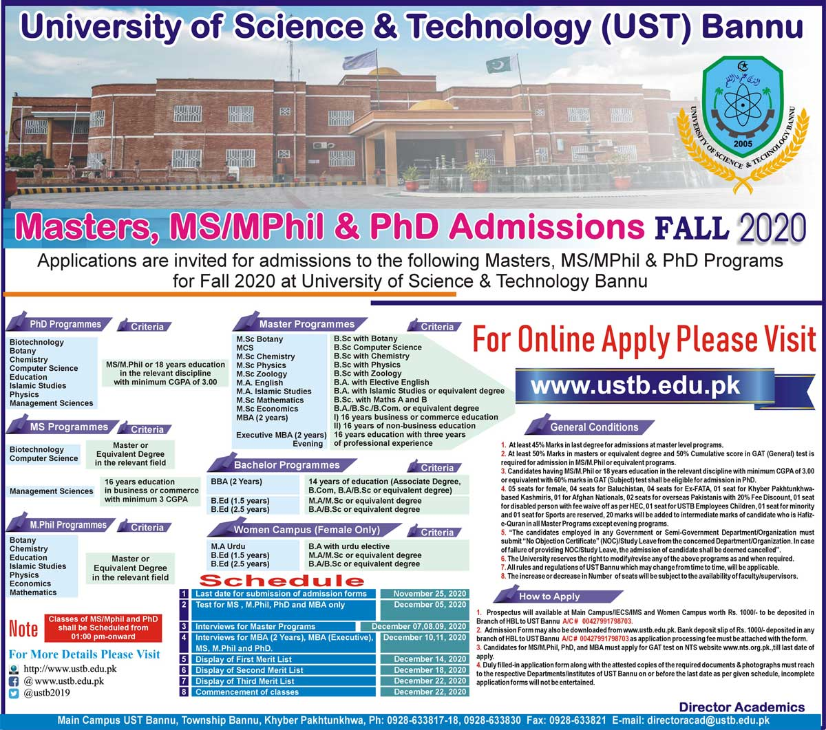 USTB University of Science Technology Bannu Admissions NTS Roll No Slip Masters, MS/M.Phil & PhD