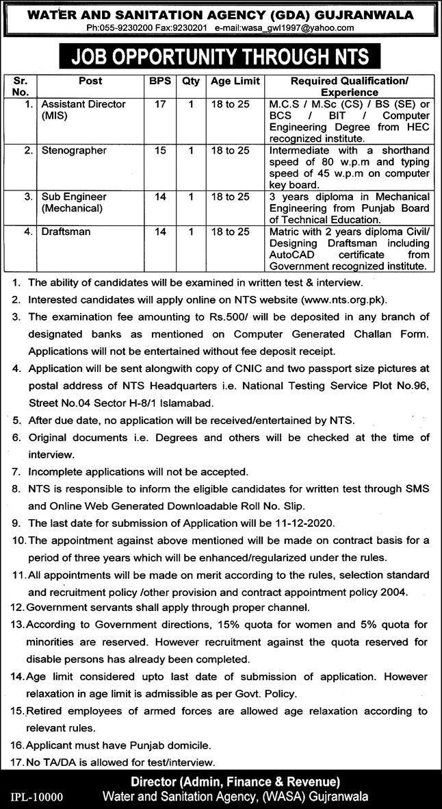 Water and Sanitation Agency GDA Gujranwala Jobs Via NTS