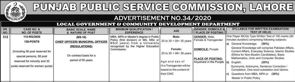 Chief Officer Municipal Officer Jobs PPSC Roll No Slip