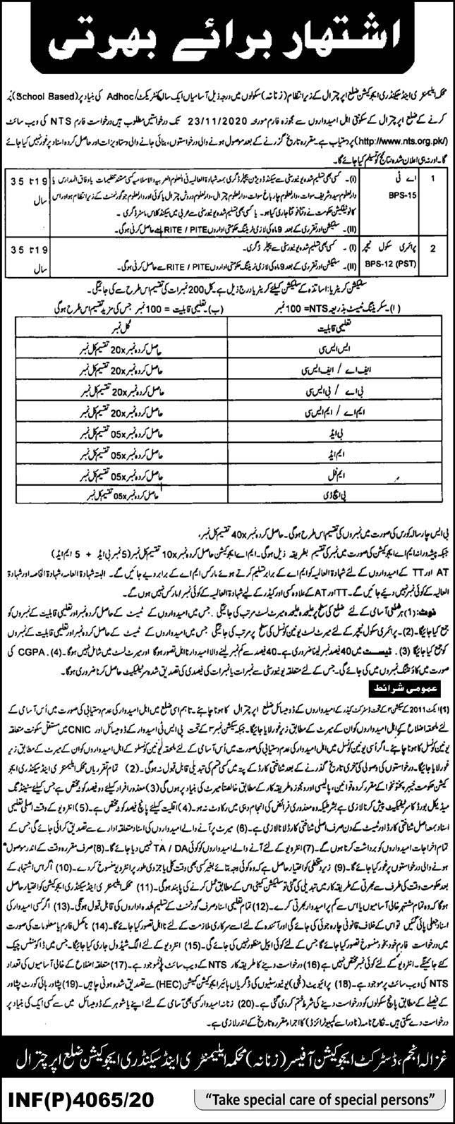 Elementary Secondary Education Department Chitral Jobs Via NTS
