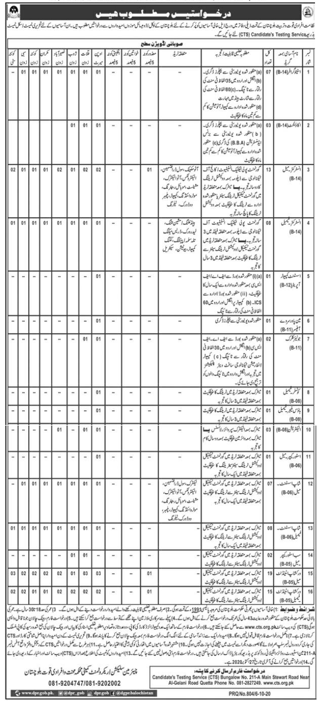 Directorate of Manpower Training Balochistan Jobs CTS Test Result