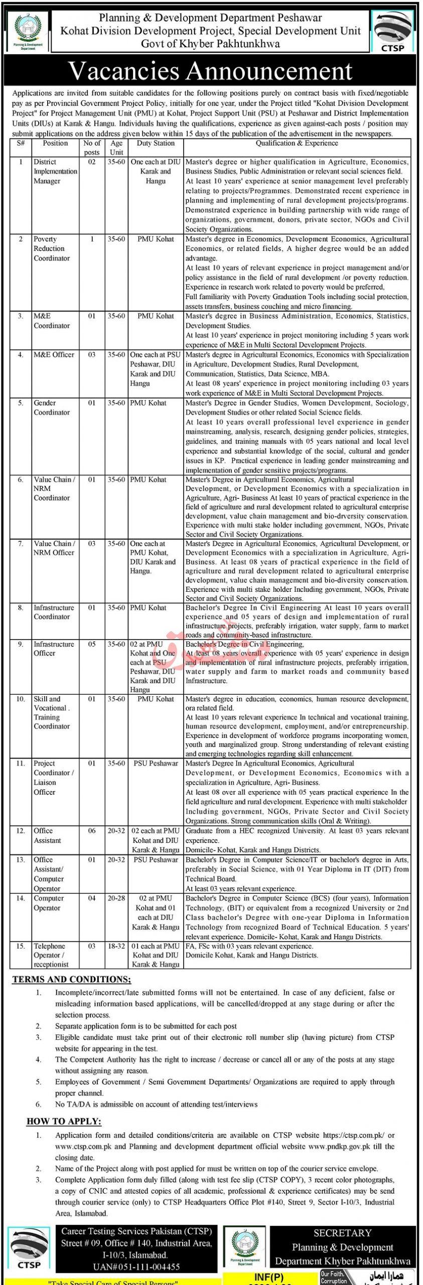 Kohat Division Development Special Development Unit Jobs CTSP Roll No Slip