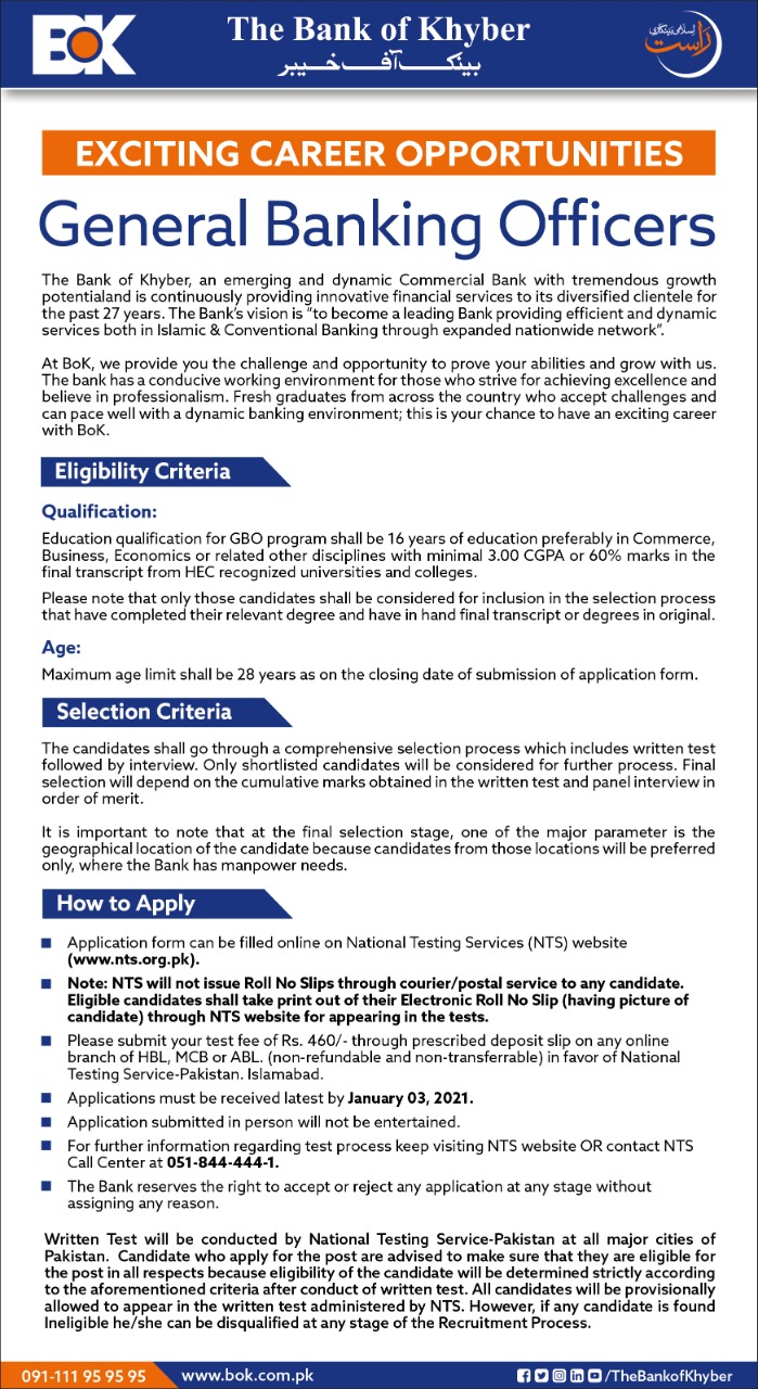 BOK Bank of Khyber General Banking Officers Jobs NTS Test Roll No Slip