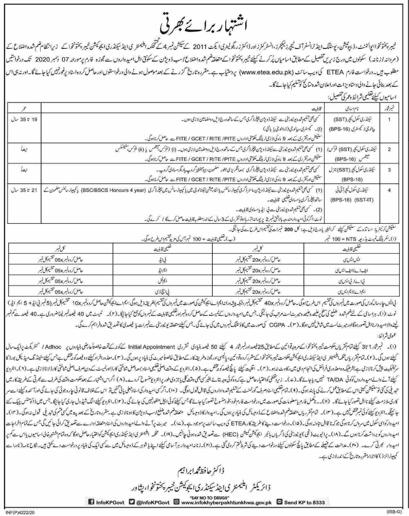 Elementary Secondary Education Peshawar Jobs ETEA Roll No Slip