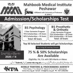 Mahboob Medical Institute Admission Scholarship Test NTPA Result