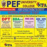 PEF University College Admission Scholarship Test NTPA Roll No Slip