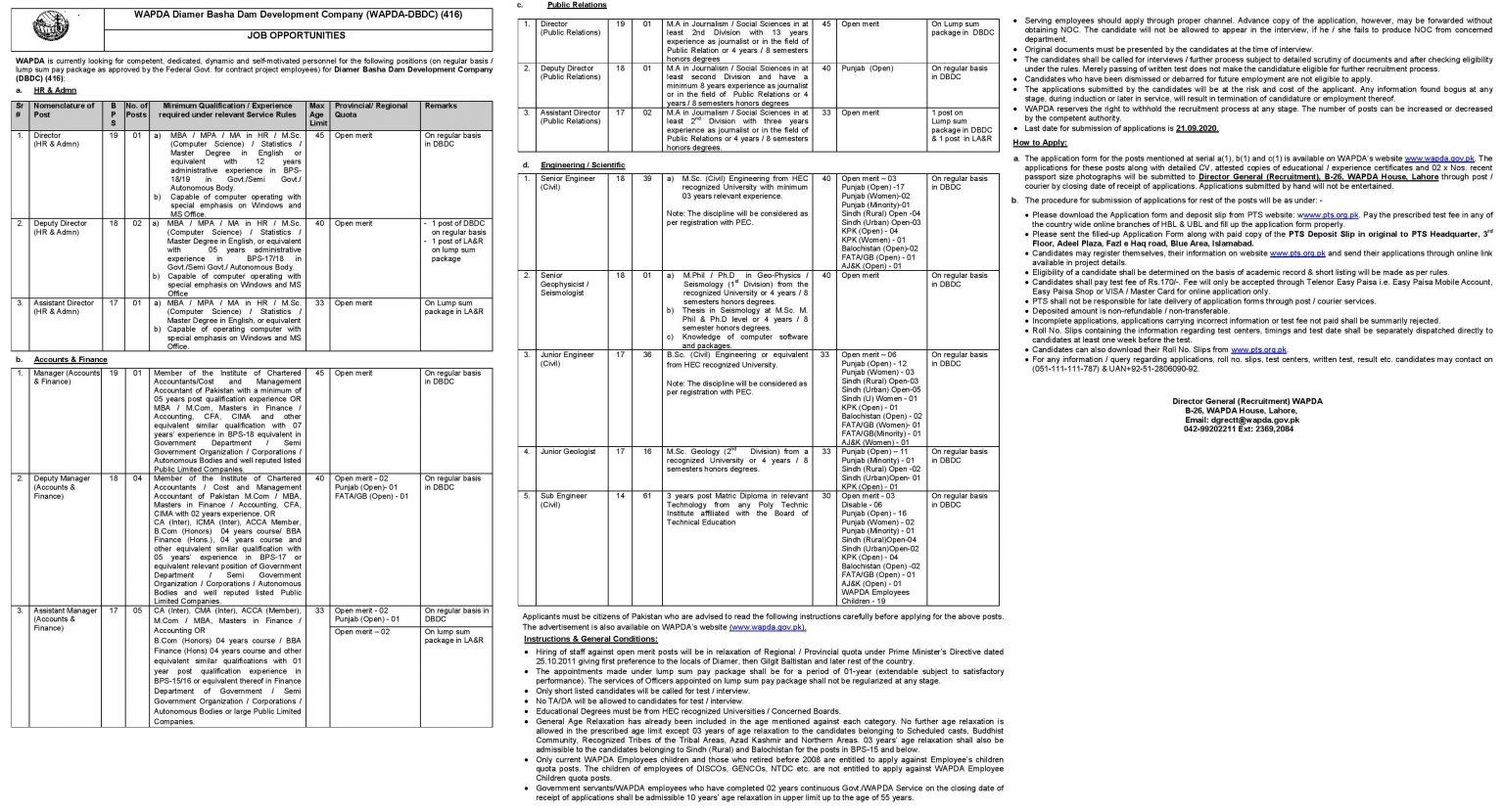 WAPDA Diamer Basha Dam Development Jobs PTS Result