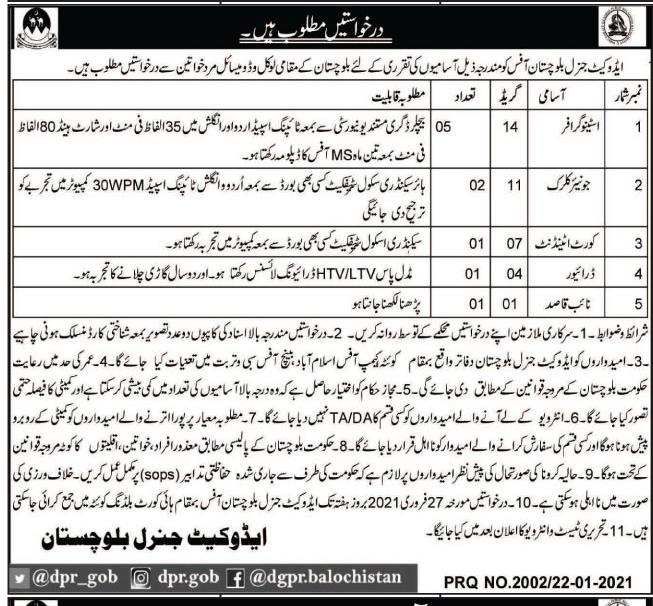 Advocate General Office Quetta Balochistan Jobs