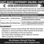 Cantt Board Dispensary Sanjawal Cantt Jobs