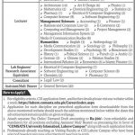 CU Comsats University Lahore Campus Jobs 2021