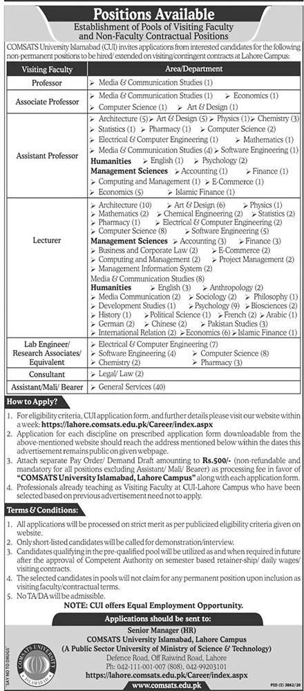CU Comsats University Lahore Campus Jobs