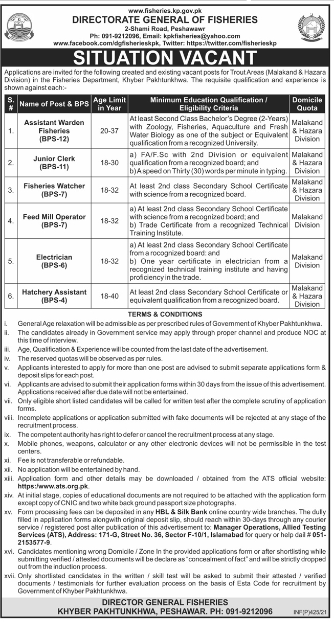 Fisheries Department Peshawar KPK Jobs Via ATS
