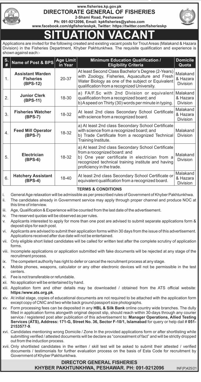 Fisheries Department Peshawar KPK Jobs Via ATS