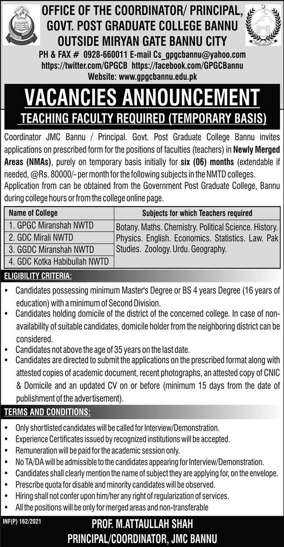 Government Postgraduate College Bannu Jobs 2021