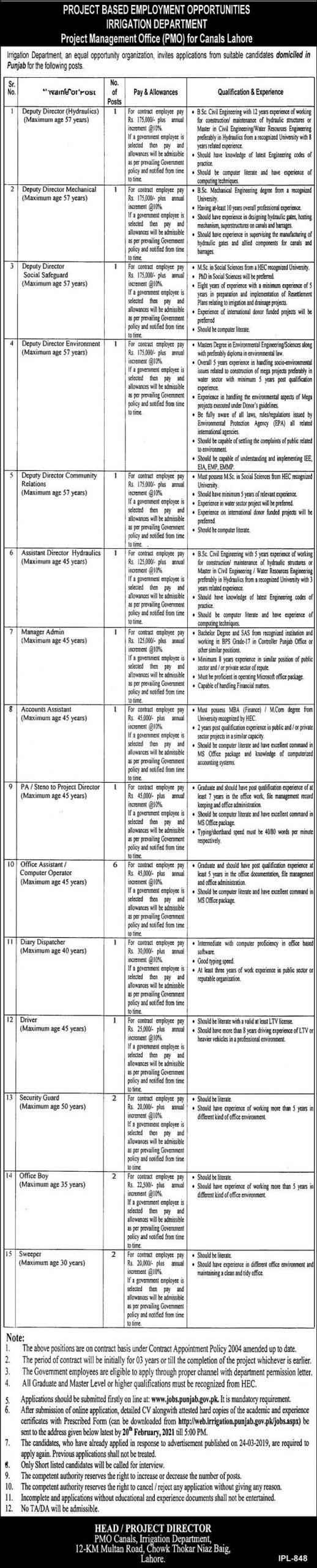 Irrigation Department Punjab Jobs Lahore 2021