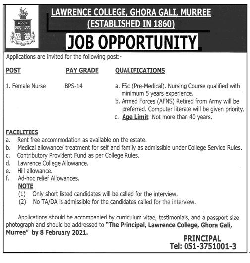 Lawrence College Ghora Gali Murree Jobs 2021