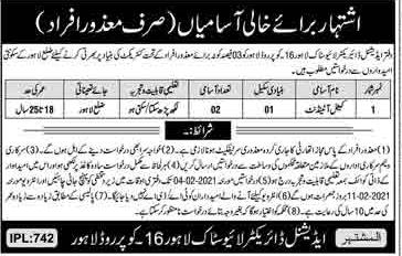 Livestock Department Lahore Jobs