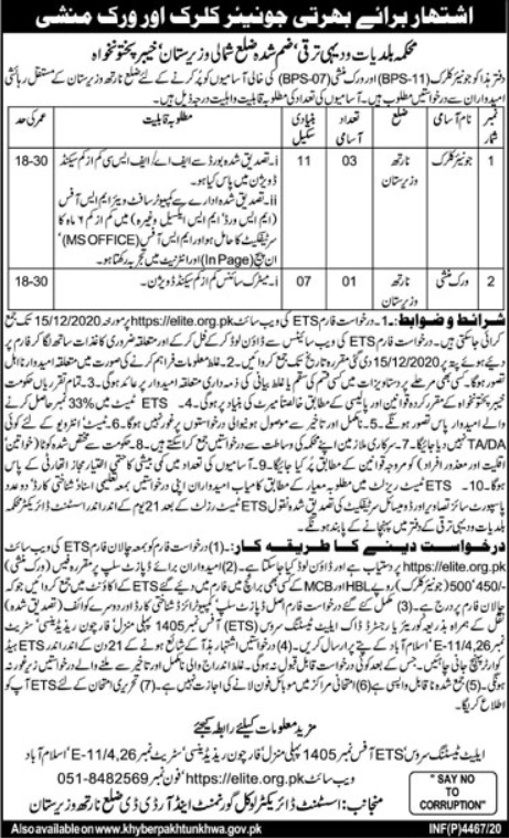 Office of the Assistant Director LGRDD North Waziristan Jobs Result