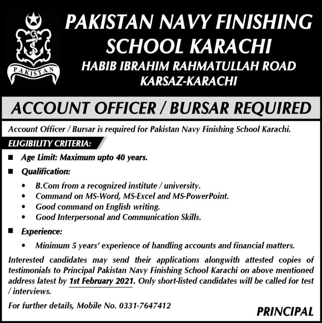 Pakistan Navy Finishing School Karachi Jobs 2021