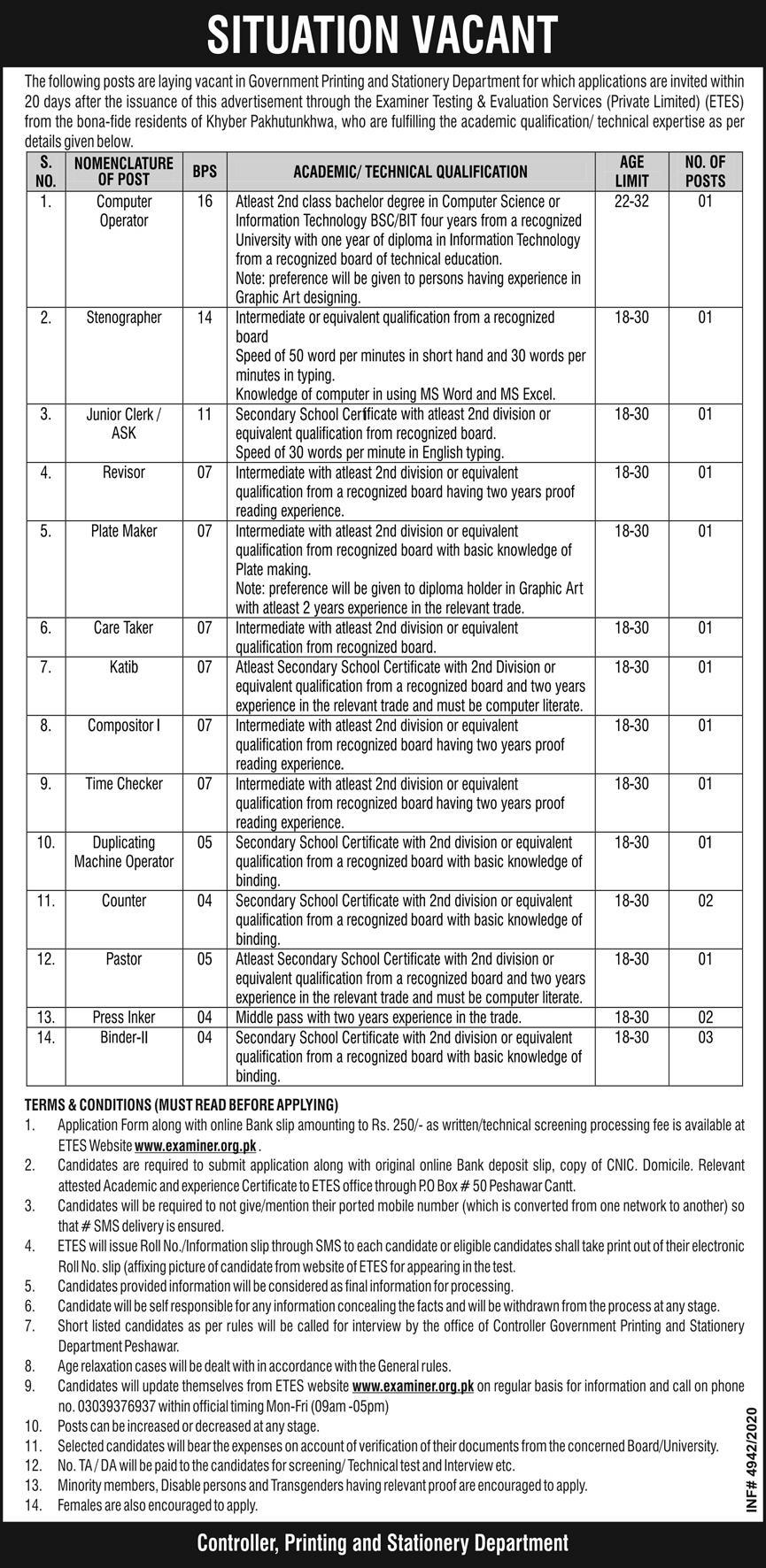 Govt Printing Press Stationery Department Jobs ETES Roll No Slip