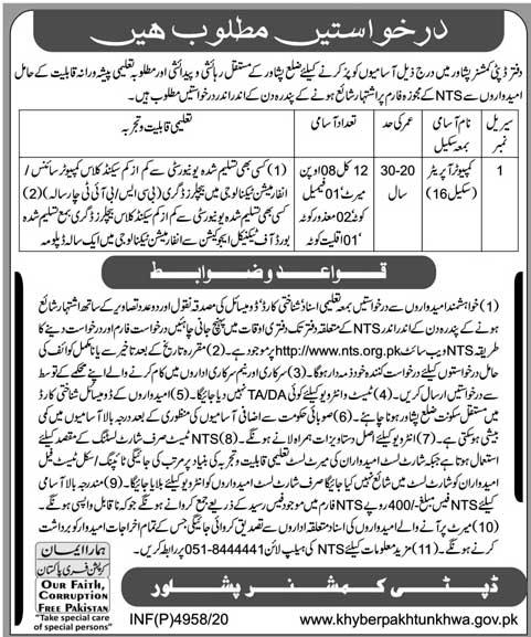 Deputy Commissioner Office Peshawar Jobs Via NTS