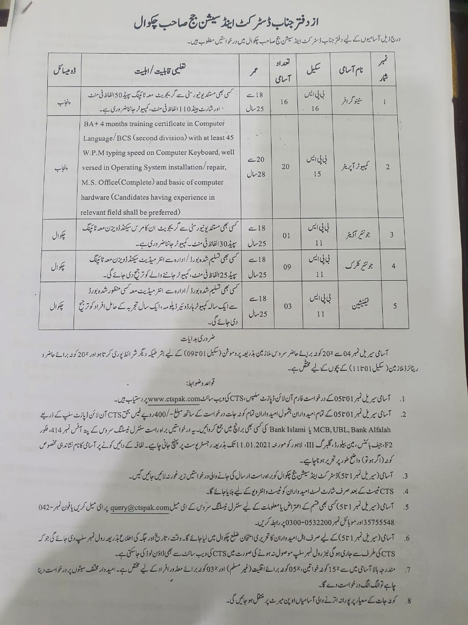 District Session Judge Chakwal Jobs CTSPAK Result