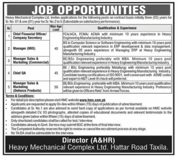Heavy Mechanical Complex HMC Jobs Taxila 2021