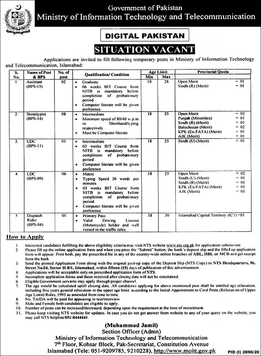 Ministry of Information Technology Telecommunication Jobs NTS Result