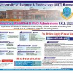 University of Science and Technology Bannu MS MPhil PhD NTS Roll No Slip
