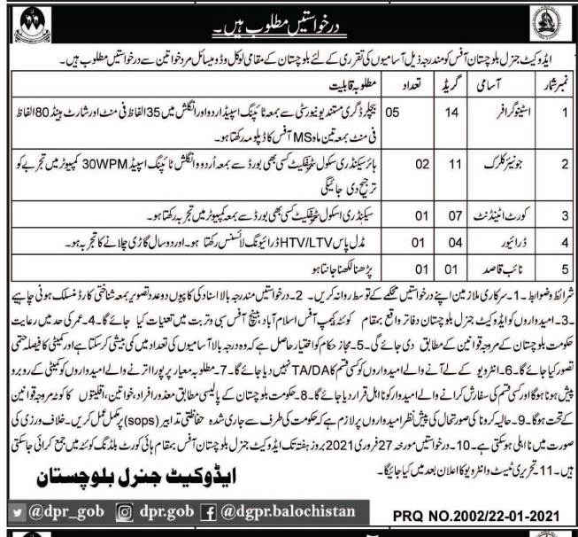 Advocate General Office Quetta Balochistan Jobs Test Date