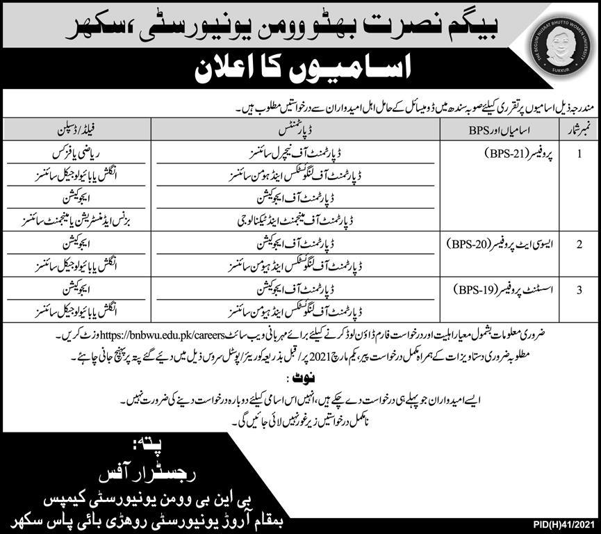 BNB Begum Nusrat Bhutto Women University Sukkur Jobs Govt vacancy 2021
