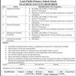 Cantt Public Primary School Attock Jobs Interview Schedule Merit List
