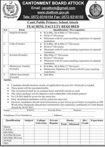Cantt Public Primary School Attock Jobs – Teacher Jobs In Punjab 2021