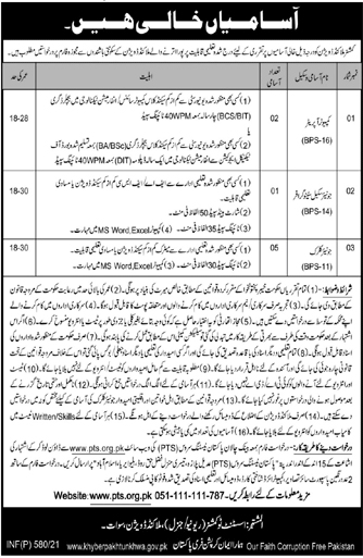 Commissioner Malakand Division Jobs PTS Roll No Slip