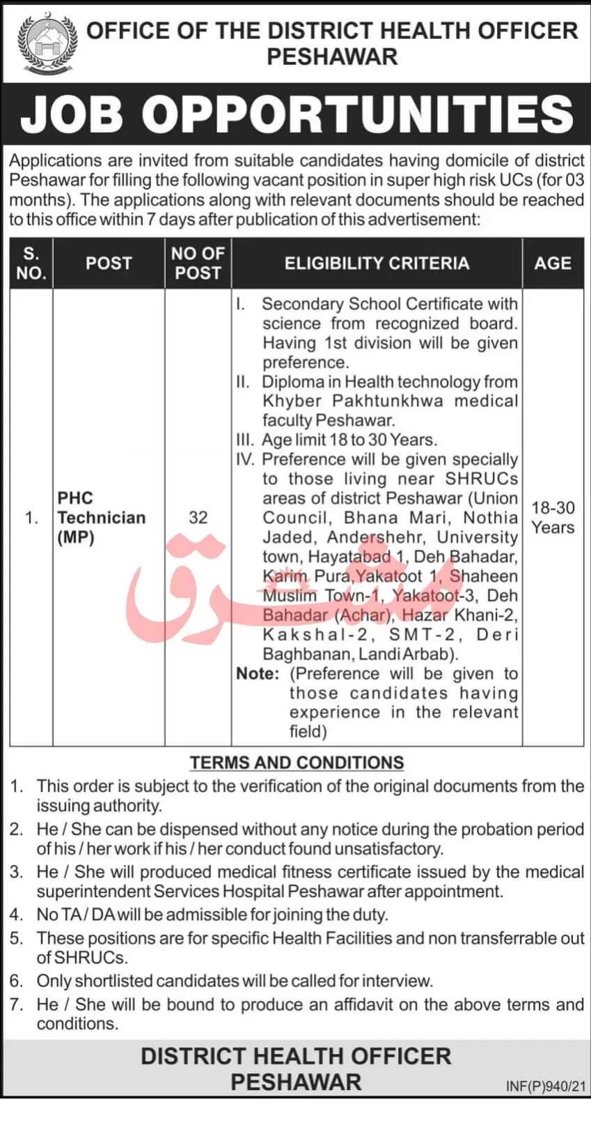 District Health Officer Peshawar Jobs Today KPK Govt Jobs 2021
