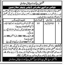 Today Govt Jobs Pakistan – THQ Hospital Sillanwali Sargodha Jobs