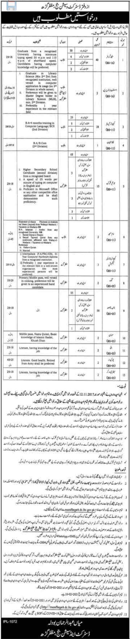 District Session Judge Office Muzaffargarh Jobs