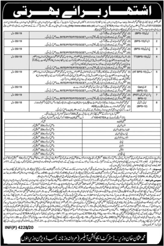Education Department ESED SST SST IT Jobs ETEA Result Merit List