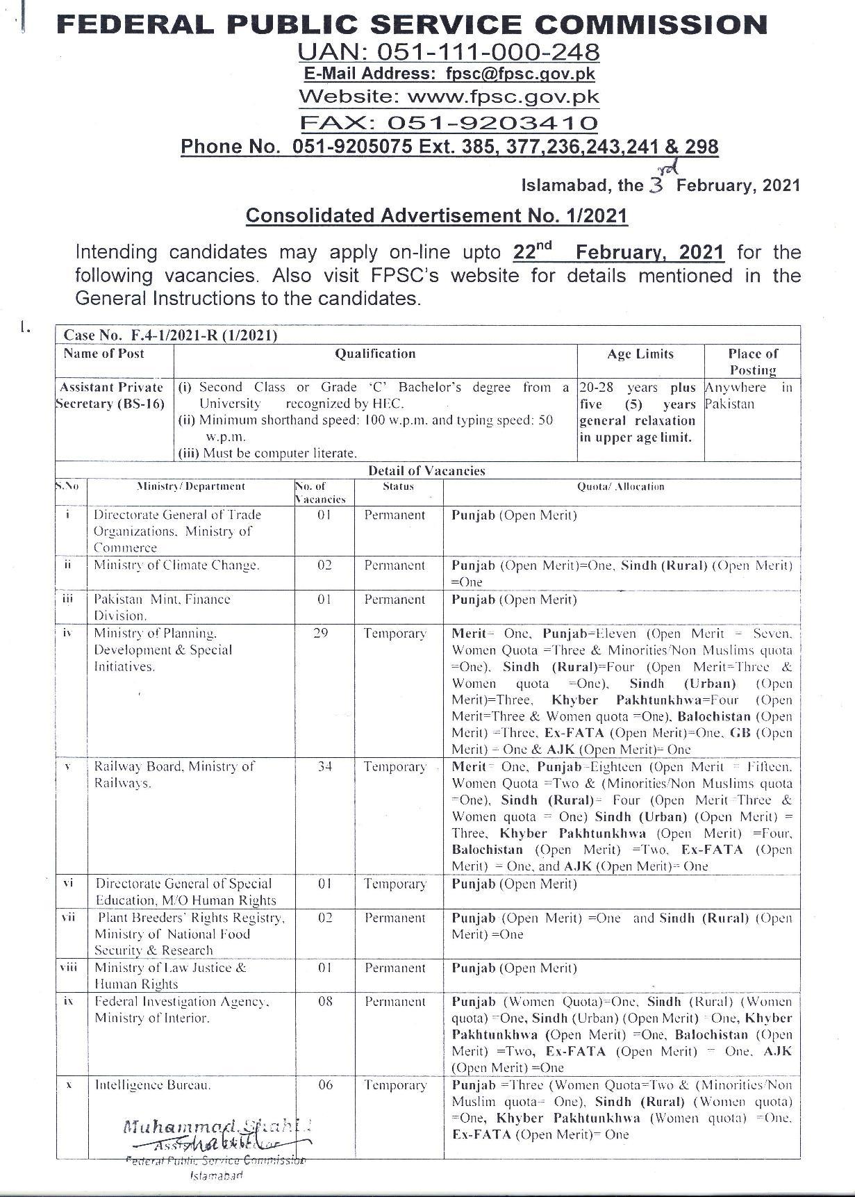 FPSC Assistant Private Secretary Jobs Roll No Slip Test Date