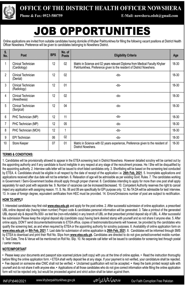 District Health Office DHO Nowshera Jobs ETEA Test Roll No Slip