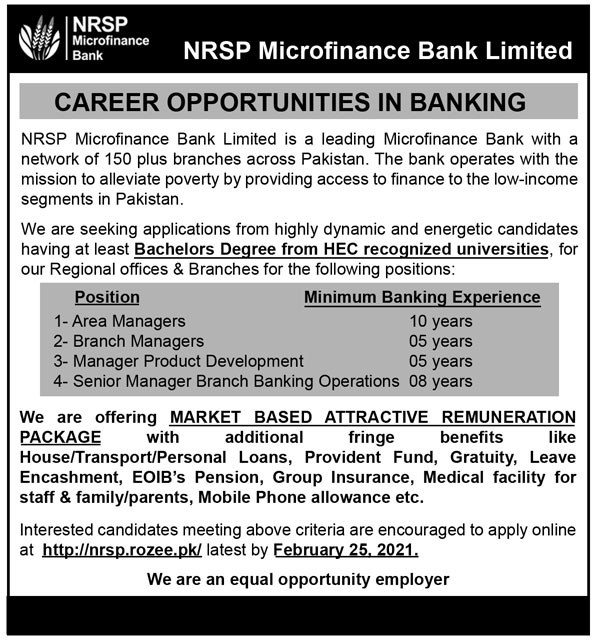 Govt Jobs Pakistan Today NRSP Microfinance Bank Jobs 2021