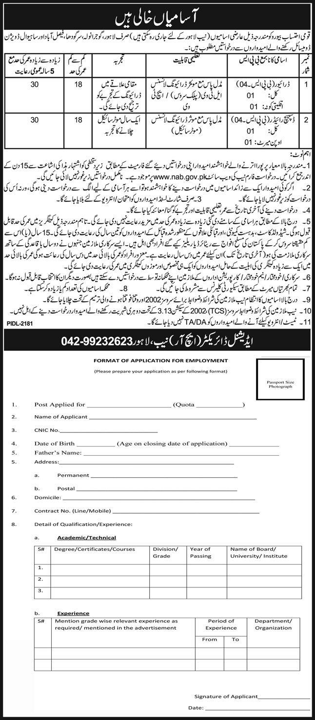 National Accountability Bureau NAB Jobs Lahore