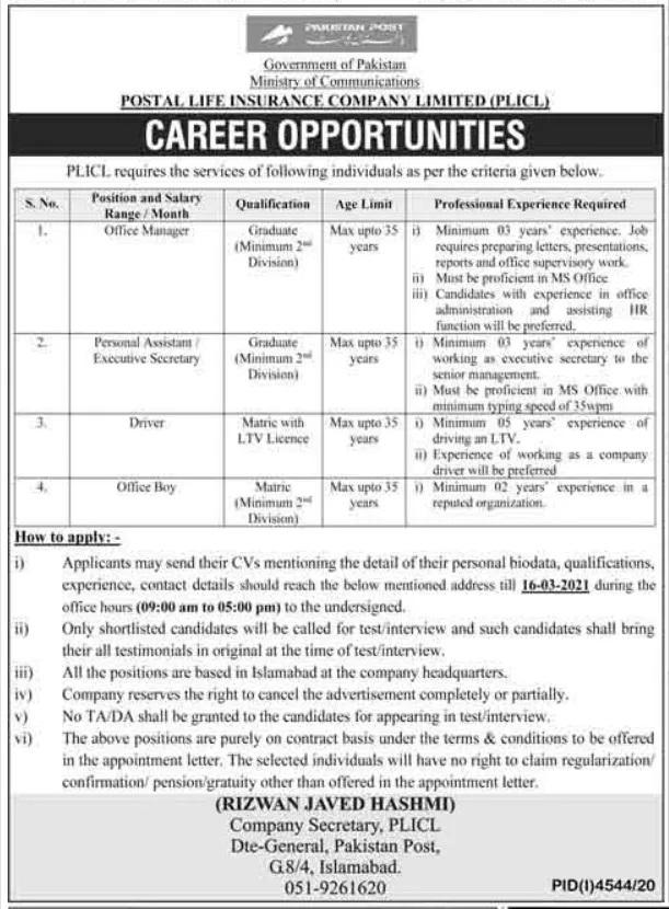 Ministry of Communication Pakistan Postal Life Insurance Company Jobs 2021