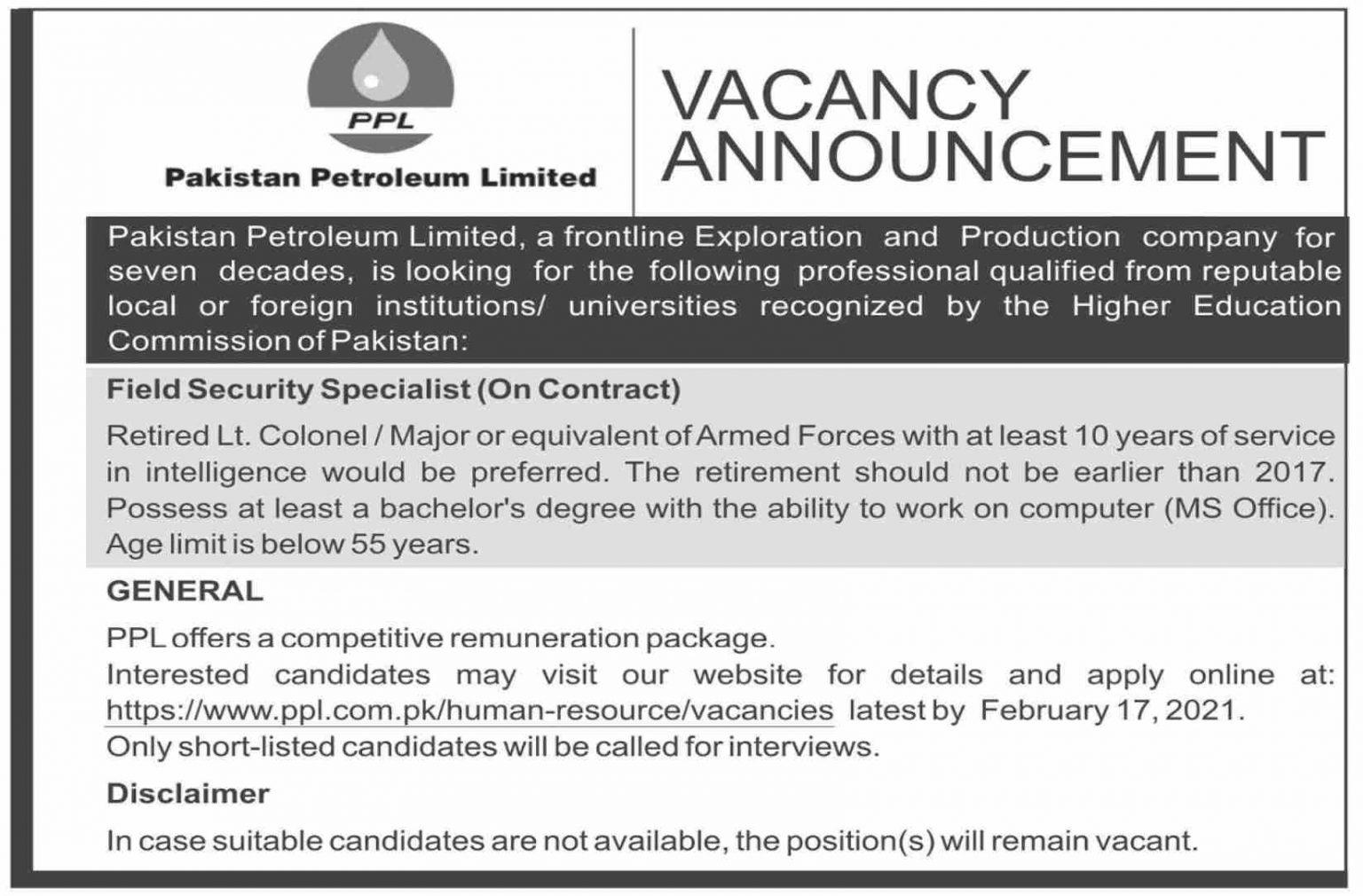 Latest Govt Jobs in Pakistan – Pakistan Petroleum Limited PPL