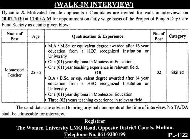 Today Govt Jobs in university Women University WU Multan Latest