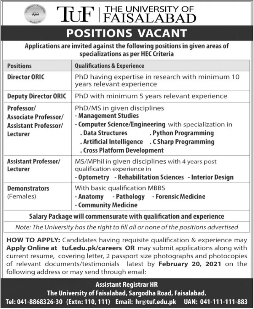 TUF University of Faisalabad Jobs 2021 Today Govt Jobs in Pakistan Punjab